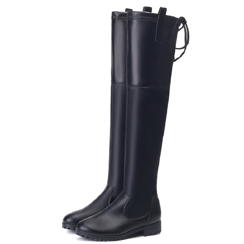 Autumn and winter new 2017 plus cashmere warm long tube high tube knee boots sexy tie with low boots female