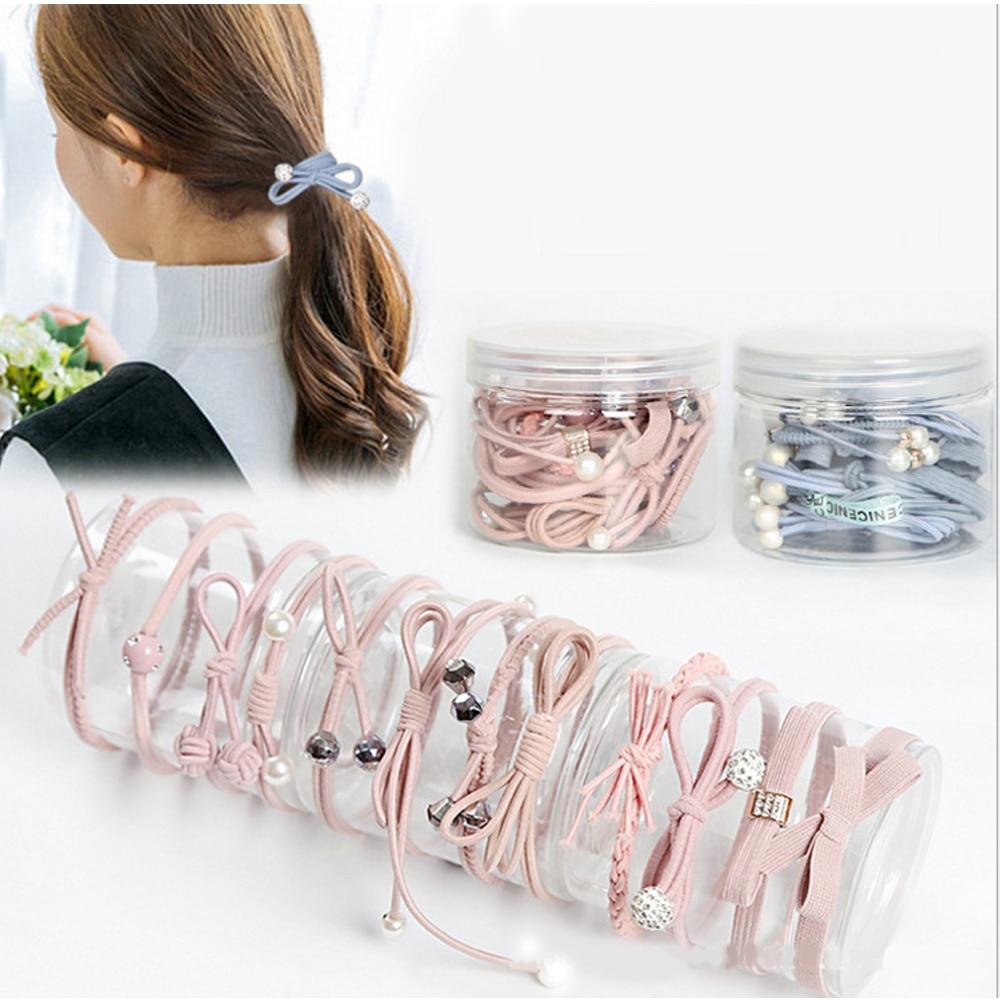 12Piece//Set Women Korean Hair Tie Ponytail Holder Hair Rope Elastic Rubber Band