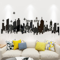 Romantic city silhouette creative trend decoration Living room bedroom bedside shop wall 3d self adhesive acrylic wall sticker
