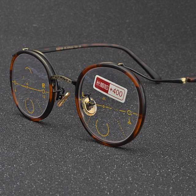 2019 retro fashion round lady progressive multi-focus reading glasses sun photochromic uv400 far and near dual-use glasses NX