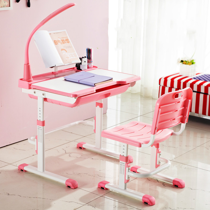 High quality adjustable height protection vision correcting sitting posture children learning desk and chair set writing desk high quality adjustable height protection vision for children learning set of table and chair