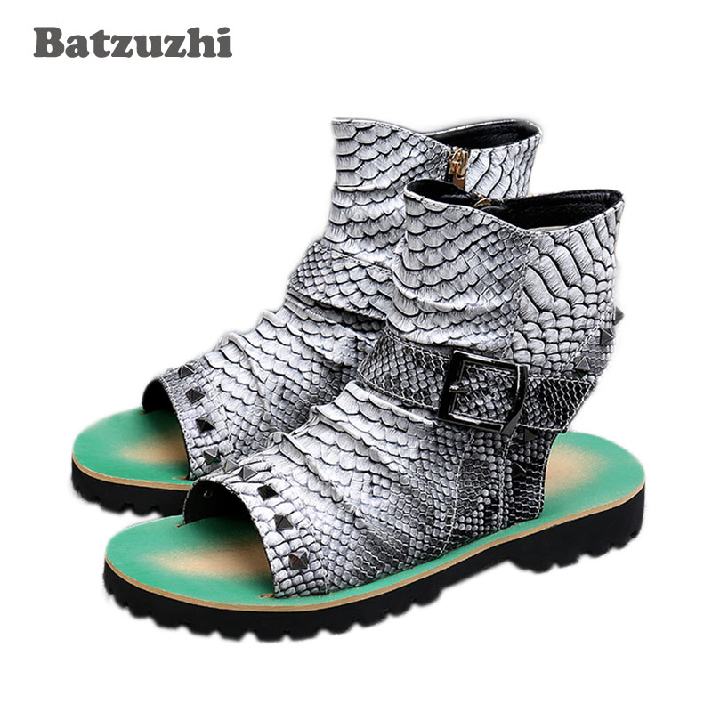 BATZUZHI Rock Men Sandal Shoes Open Toe Ankle Sandal Boots Punk Rivets Buckle Men Gladiator Sandalias Mujer 2018 Casual Beach