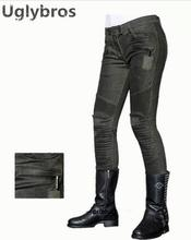 Newest Uglybros MOTORPOOL UBS012 Jeans Gun Green Motorcycle Pants Women's moto Pants Motorcycle Protective Jeans size: 25 26 27