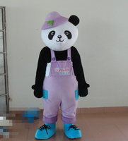 Cute Black Giant Panda Bear Bearcat Mascot Costume With Small Ears Bright Big Eyes Purple Clothes