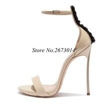 Summer Open Toe Sandals Sexy Thin High Heel Shoes Buckle Strap Gladiator Lace Decor Blade 12 CM Stilettos