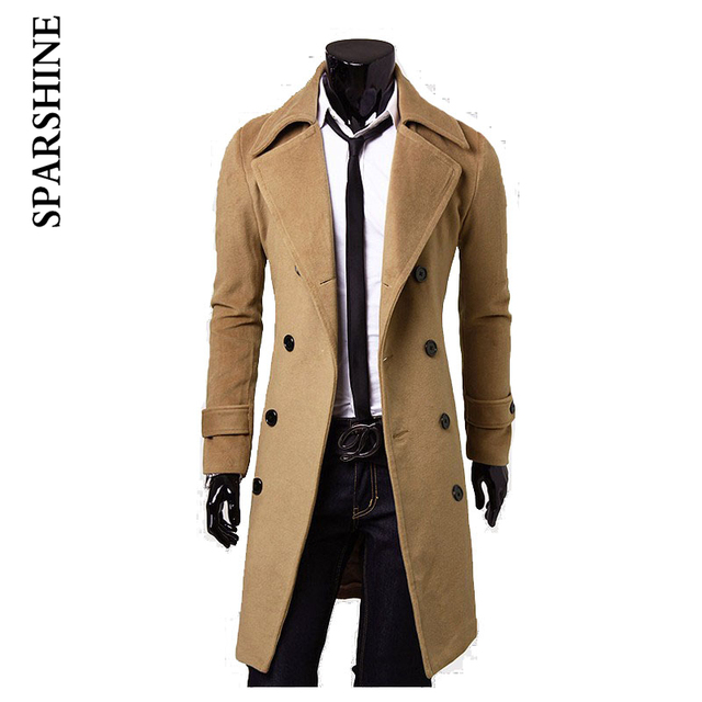 2016 Hot Sale Men Cotton Apperal Men's Casual Coat Male Jacket Long Style Warm Windproof Fashion Solid Color Coat