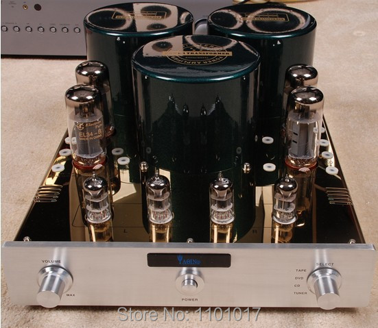YAQIN MC-10T EL34 Vacuum Tube Push Pull Integrated Amplifier HIFI EXQUIS lamp amp with 12AX7 pre-amp produino 5v voltage boost mobile power module green 1a
