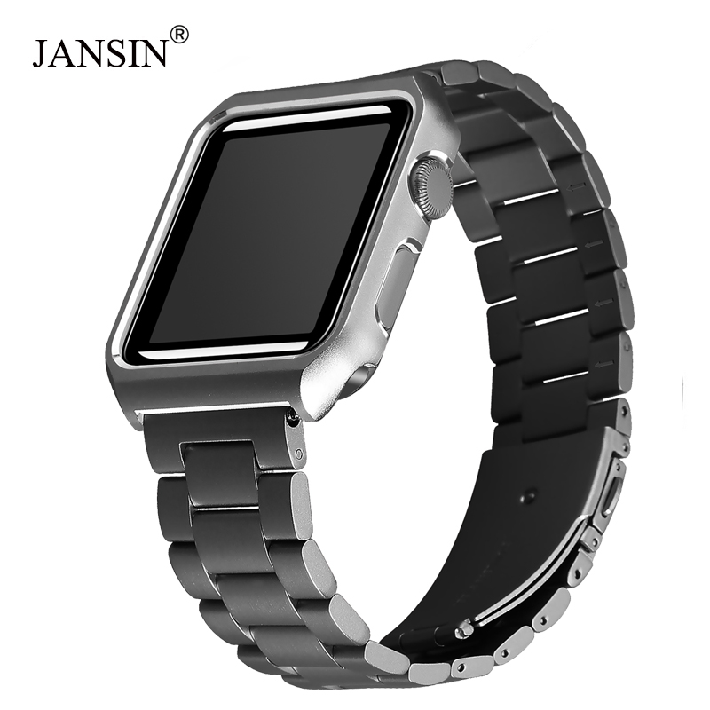 JANSIN Metal Case + Stainless Steel Strap For Apple Watch 38mm 42mm 40mm 44mm Band For Iwatch Series 4 3 2 1 Bracelet Cover