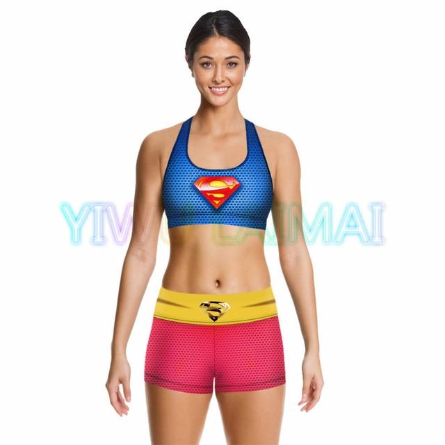 6df5eafa8b JIGERJOGER 2016 Hot Digital Printing Sublimation Superman S logo prints Sport  Bra Yoga Shorts Fitness Activewear clothing