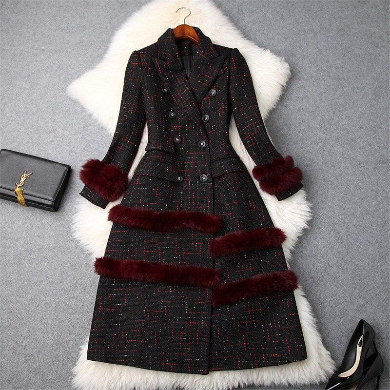 Woman Winter Coats and Jackets 2018 Fashion Brand Designer Fur Patchwork Plaid Wool Blend Vintage Long