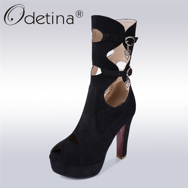 Odetina 2018 New Fashion Women Summer Ankle Boots Extreme High Heels Buckle Strap Shoes Peep Toe Platform Crystal Big Size 32-44 odetina 2017 new summer women ankle strap ballet flats buckle hollow out flat shoes pointed toe ladies comfortable casual shoes