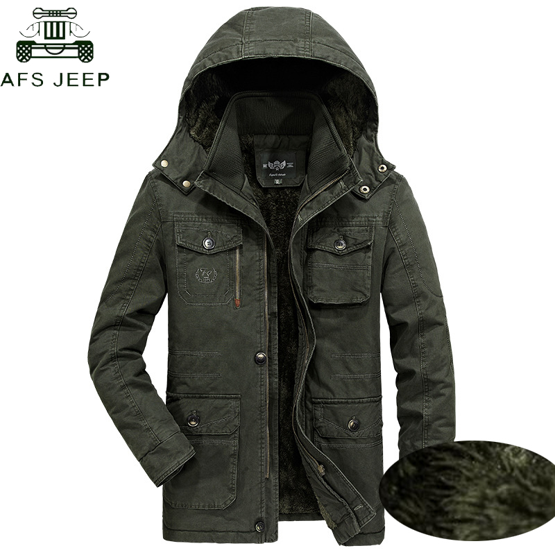 56817fc466 AFS JEEP Plus Size 7XL 8XL Military Parka Men Coat 2018 Winter Thicken Warm  Snow Cold Men Jackets Cotton Hooded Parkas Hombre