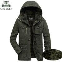 AFS JEEP Plus Size 7XL 8XL Military Parka Men Coat 2018 Winter Thicken Warm Snow Cold Men Jackets Cotton Hooded Parkas Hombre