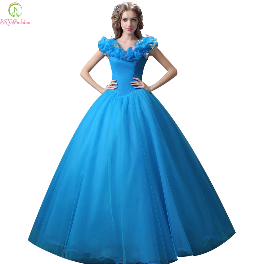 Aliexpress Buy SSYFashion Cinderella Princess Sweet Blue Fantasy Fairy Tale Prom Dresses