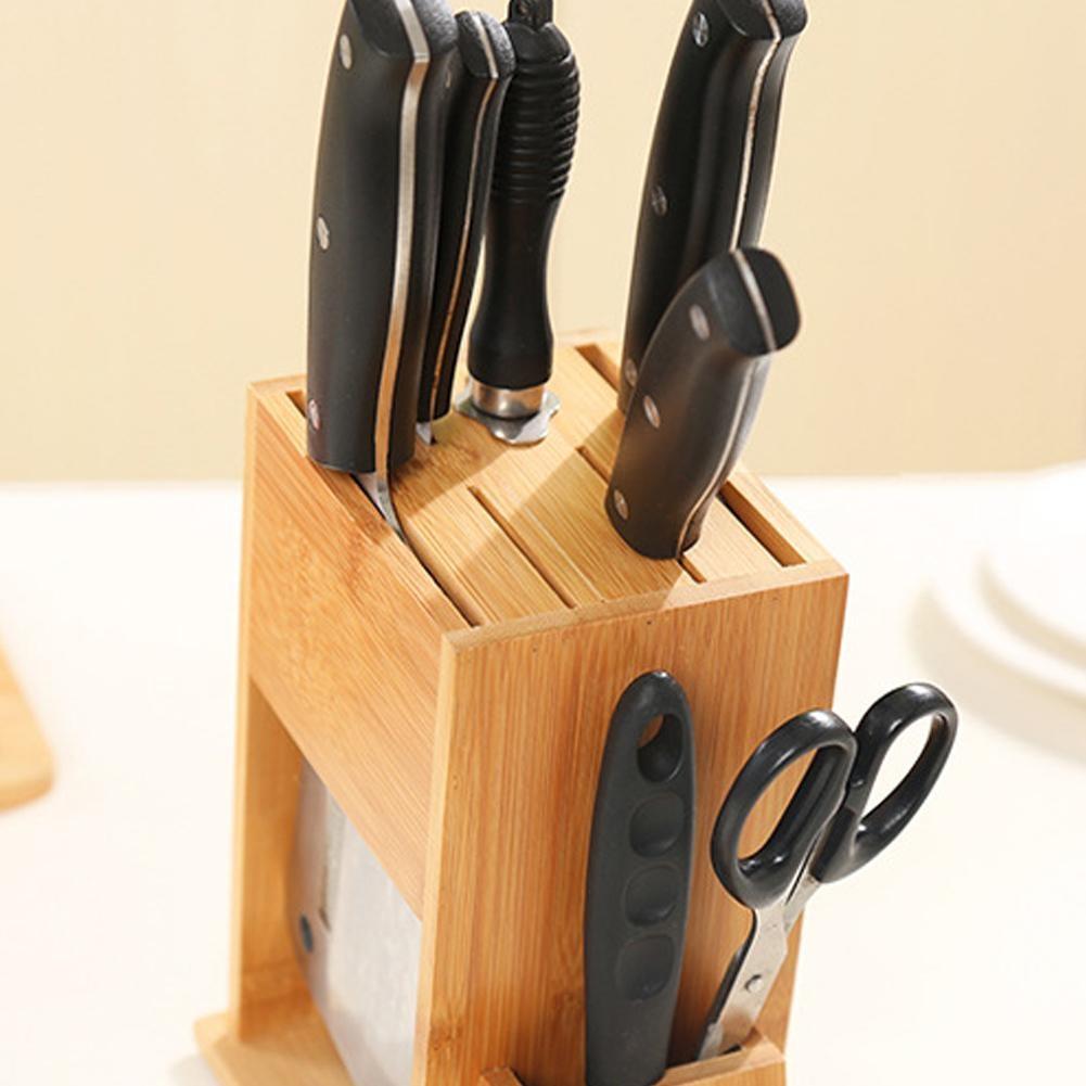 Waasoscon Wood Kitchen Knife Holder Multifunctional Storage Rack Tool Holder Bamboo Knife Block Stand Kitchen Accessories