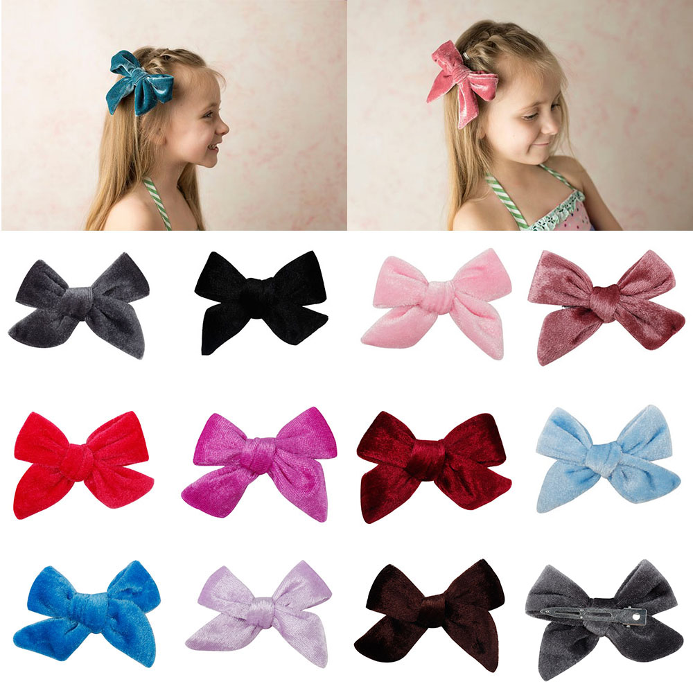 2 Pcs/lot 3.5'' Princess Solid Hair Bows For Girls Soft Velvet Hair Clips Handmade Bowknot Hairpins   Headwear   Hair Accessories