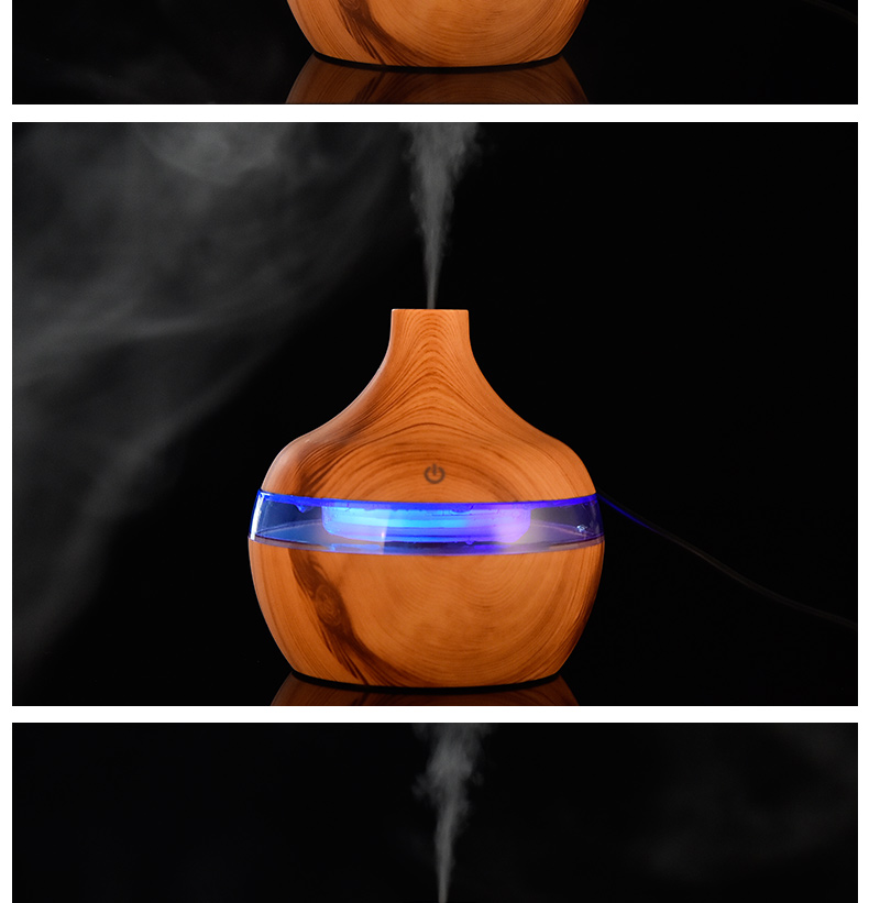 Electric Humidifier | Essential Aroma Oil Diffuser | Ultrasonic Wood Grain Air Humidifier | USB Mini Mist Maker | Air Humidifier