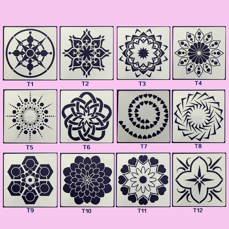 12pcs Mandala Dotting Tools Templates Stencil Set For DIY Painting Drawing Drafting Art Craft Projects