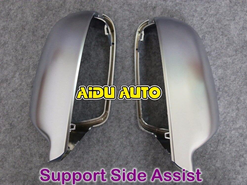 1 пара для Audi А3 А4 А5 С5 С4 В9 помощи для поддержки матовый корпус серебристый хром зеркало заднего вида чехол