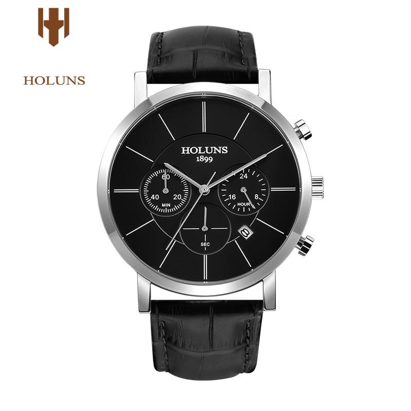 Luxury HOLUNS mens Waterproof quartz Chronograph leather strap wrist watch relogio masculino цена и фото