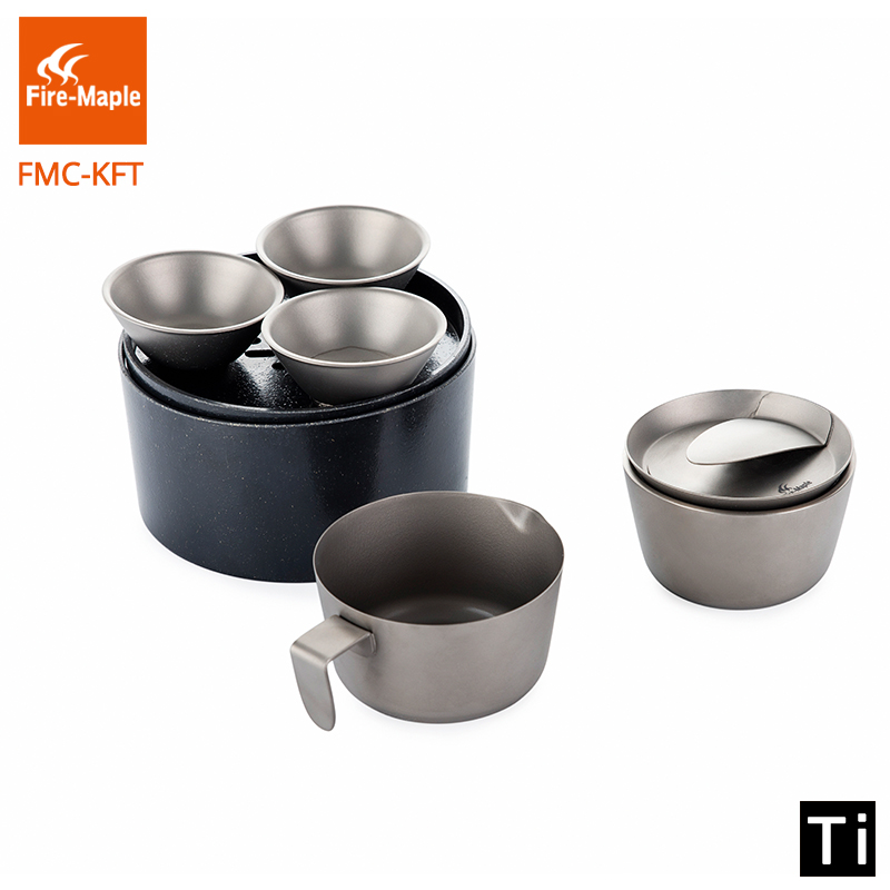 Fire Maple Titanium Kung Fu Tea Set Ultra Light Outdoor Camping Pouring Filtering Drinking Cup 208g FMC-KFT fire maple portable titanium flagon outdoor sake set camping wine pot with cup travel drinkware fmc 1703002 fmc 1703003