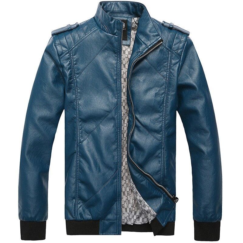 De excelente calidad Chaqueta de Cuero Hombre Motociclista Collar Slim chaquetas de Cuero de los hombres
