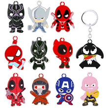 New Avengers Keychain Cartoon Thanos Captain America Deadpool Doctor Strange Figure Key Chain Ring Men Car Bag Souvenirs Jewelry(China)