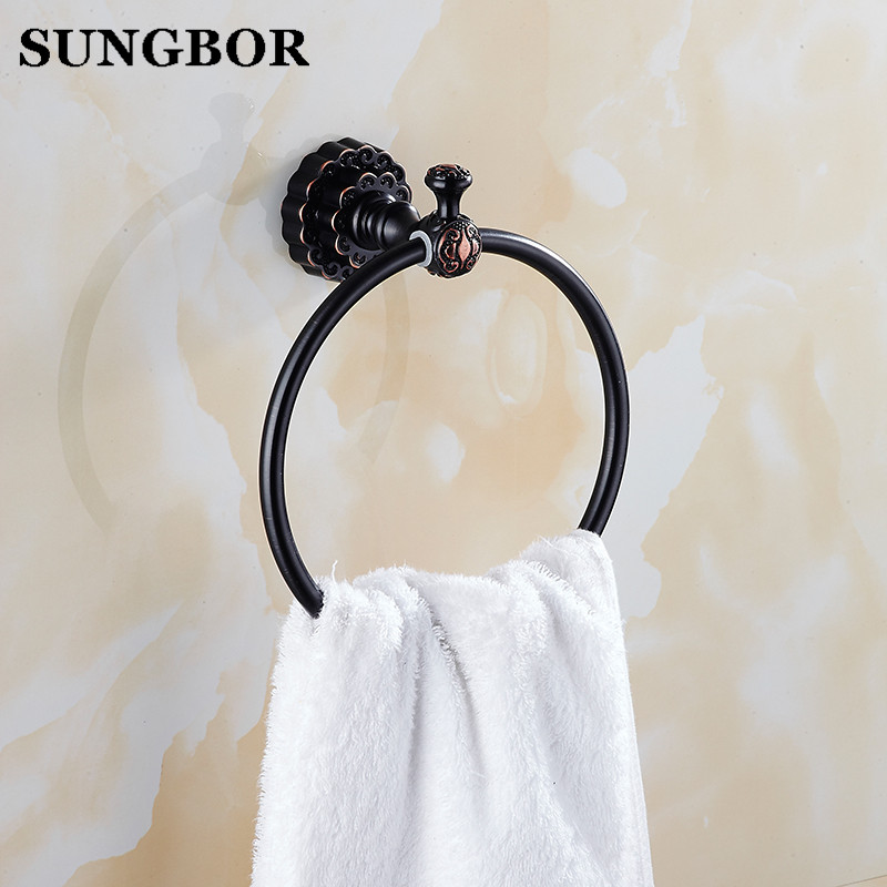 Twin Flowers Series Carving Black Brass Towel Rings Bathroom Accessories Towel Shelf Toilet Vanity FA-80805