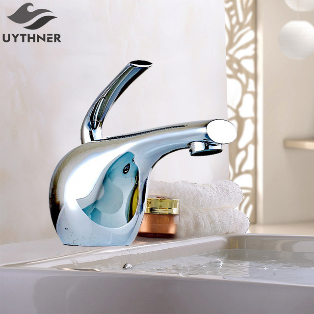 Uythner Waterfall Spout Chrome Brass Bathroom Faucet Goldfish Graphics  Mixer Tap