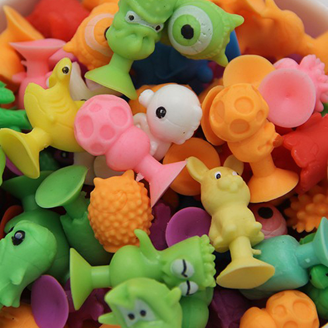 2017 New 50pcs/lot Good Cupule kids Cartoon Animal Action Figures Toys Sucker kids Mini Suction Cup Collector Capsule Model