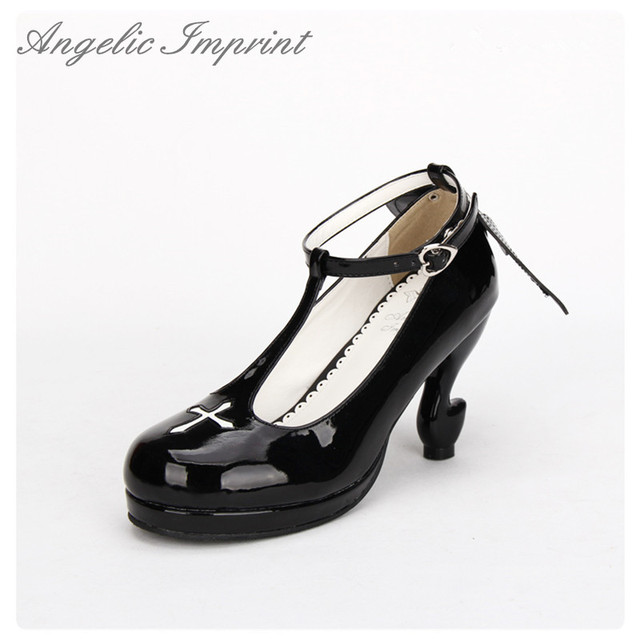 c7179902b89 Japanese Gothic Lolita Cosplay Ankle T-strap Shoes Fantasy High Heels  Comfortable Round Toe Girls Shoes with Wing WHITE BLACK