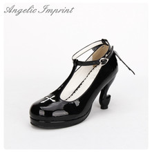 Japanese Gothic Lolita Cosplay Ankle T-strap Shoes Fantasy High Heels Comfortable Round Toe Girls Shoes with Wing WHITE/BLACK