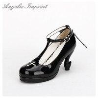 Japonês Cosplay Lolita Gótica Tornozelo Sapatos T cinta-Fantasia Saltos Altos Dedo Do Pé Redondo Confortável Sapatos Meninas com Asa BRANCO/PRETO