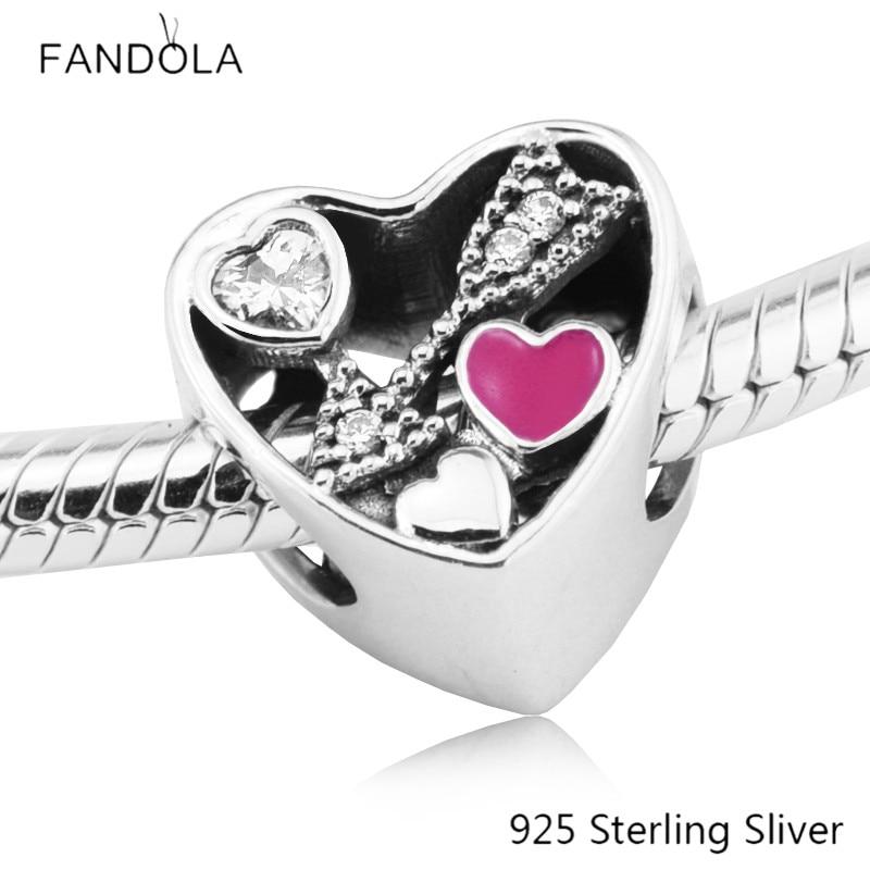 Beads Fits Pandora Bracelets 100% 925 Sterling Silver Jewelry Heart Struck by Love Original Fashion Charms CKK