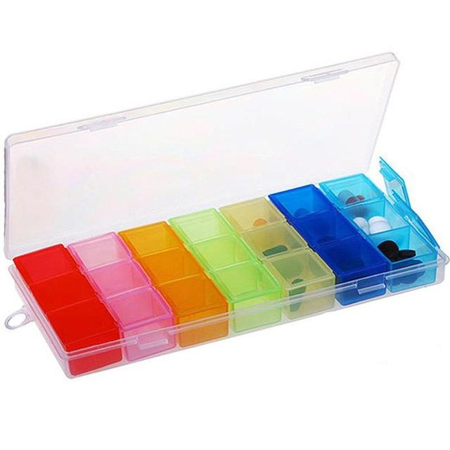 1pc 7-color Pill Case Box Case Organizer Week Storage Holder Case For Medicine Drug Pill Jewlly Case 7 Day 21 Slot