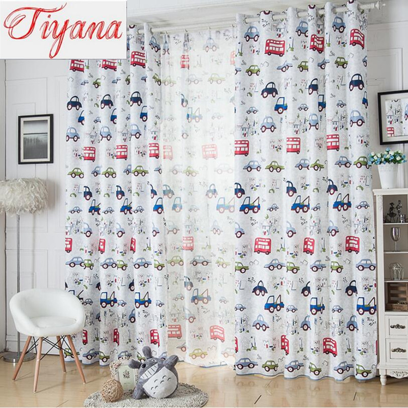 Buy cartoon car pattern shade cloth home design children boy - Helline decoration rideaux ...