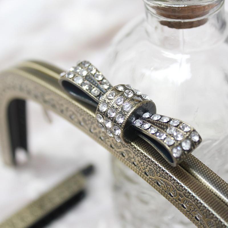 5Pcs lot 18 5cm Diamond Bowknot Handle Knurling Metal Opening Bags DIY Sewing Bag Accessories Purse