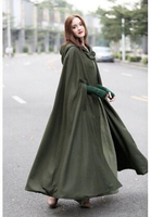 2018 Four color Hooded Lace Shawl Long Cloak Trench Coat for Women Gothic Woman Clothes Middle Age Women Coats Plus Size Coat