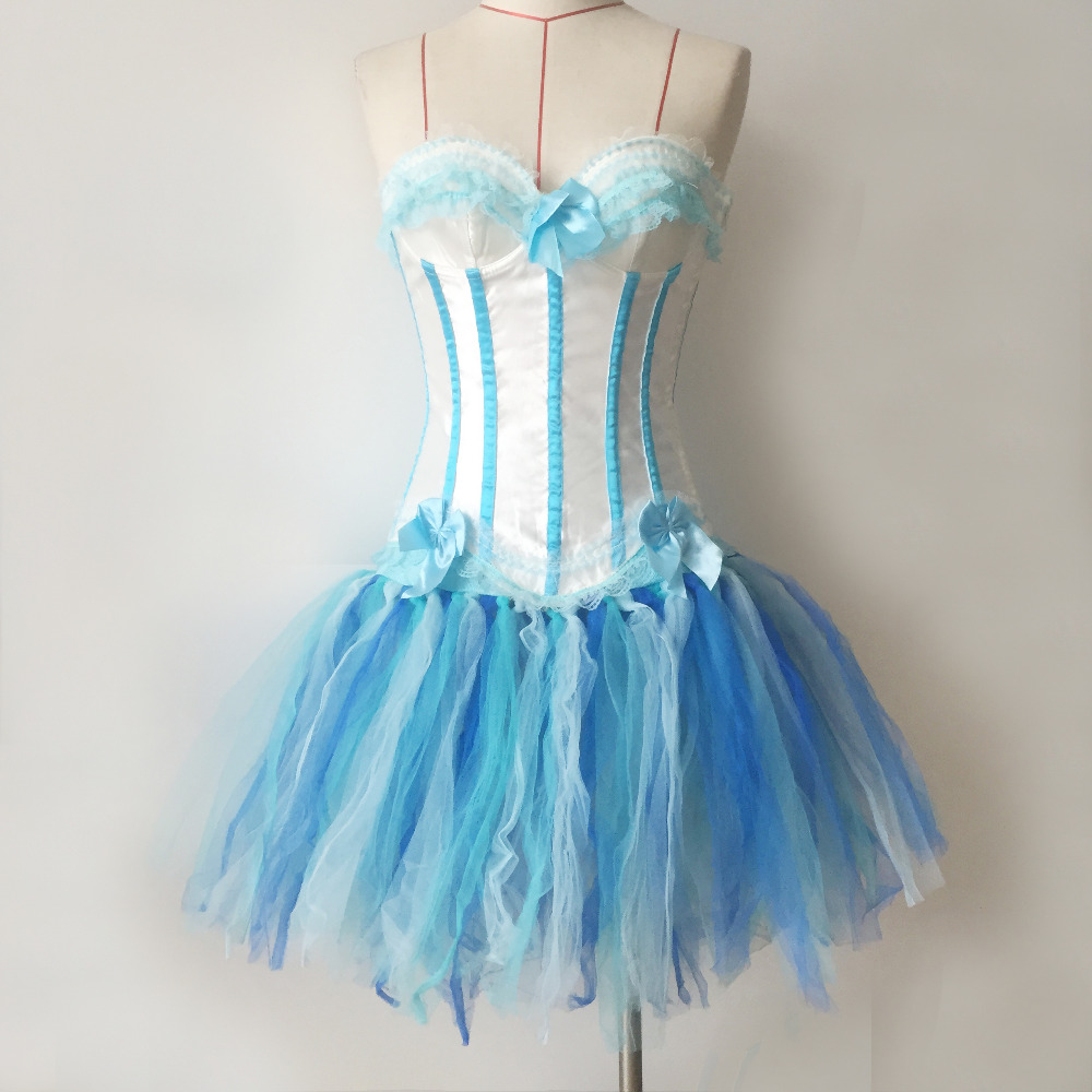 Burlesque Overbust White light Blue Corset With Tutu Dance Wear Corset Light Blue Strapless Corset Tops With Petticoat