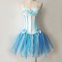 Burlesque Overbust White light Blue Corset With Tutu Dance Wear Light Strapless Tops Petticoat