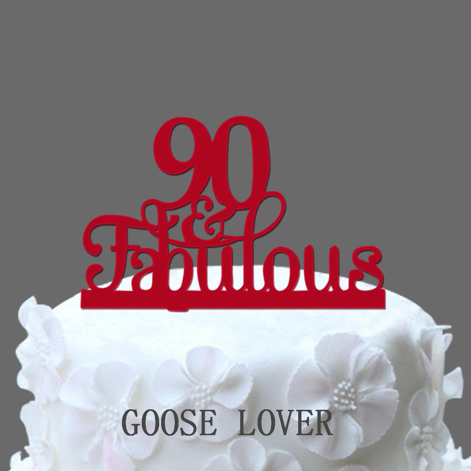 Outstanding 90Th And Fabulous Cake Topper 90Th Birthday Party Decoration Personalised Birthday Cards Veneteletsinfo