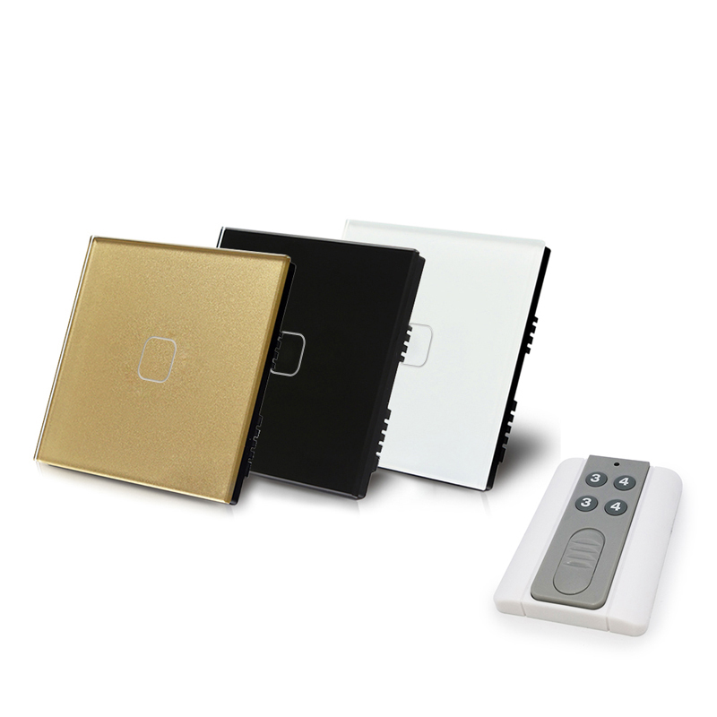 UK remote control light switch tempered glass touch sensor switch 1 way 1 gang single fire line 220V with backlight indicator eu uk touch switch remote control wall lamp switch 3 gang 1 way crystal glass single fire line touch sensor wall switch y603