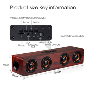 Image 5 - Dual horn Wooden Subwoofer Bass dj speaker With Bass Music Sound Intelligent Calls Handsfree TF Card Aux Mode