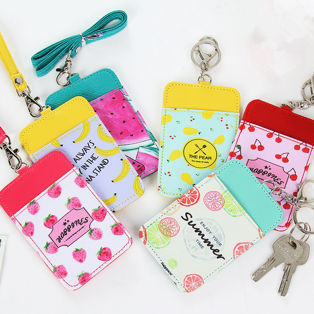 1 Pc Cute Fruit Pattern PU Leather Card Holder Lanyard Key Chain Card Wallet Girls Gifts