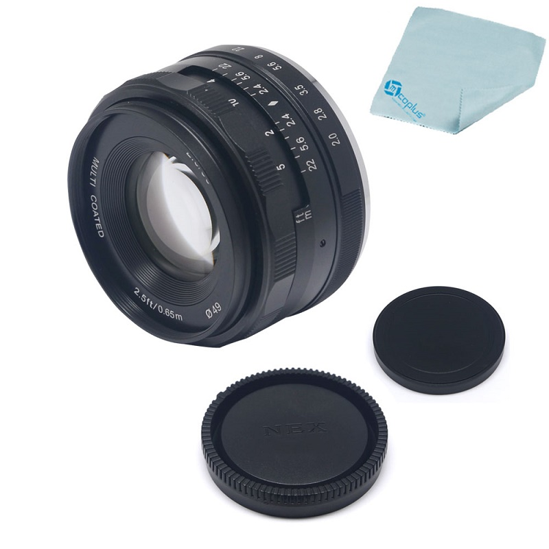 Mcoplus Meike 50mm F/2.0 Prime Fixed Manual Focus Lens Large Aperture for Sony E mount Mirrorless APS-C Camera NEX6 A6000 A6300