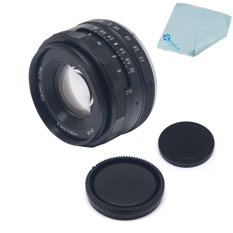 Mcoplus Meike 50mm F/2.0 Prime Fixed Manual Focus Lens Large Aperture for Sony E mount Mirrorless APS-C Camera NEX6 A6000 A6300 50mm f2 0 aperture manual focus lens aps c for eosm nikon1 m43 sony e mount nex3 5t 6 7 a5000 a6000 a6300 fuji xt1 camera
