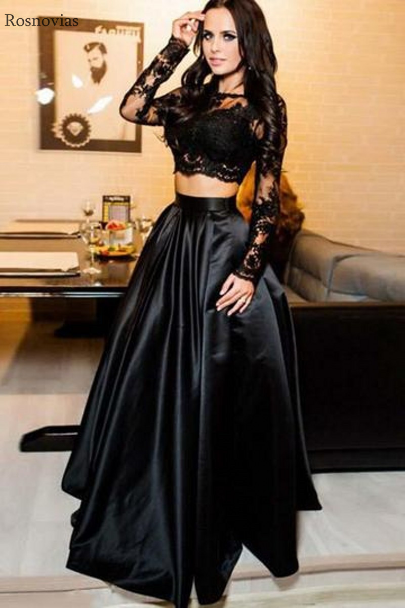 Back Long Sleeves Lace Evening Dresses Long Two Pieces Dress Sweep Train Prom Party Dresses Formal Gowns Vestido De Noche in Evening Dresses from Weddings Events