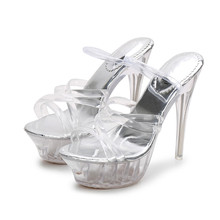 цена на Summer Shoes Woman PVC Crystal Transparent Women Clear High Heels 14CM Sandals Super High Heel Slippers Slides MS-A0059