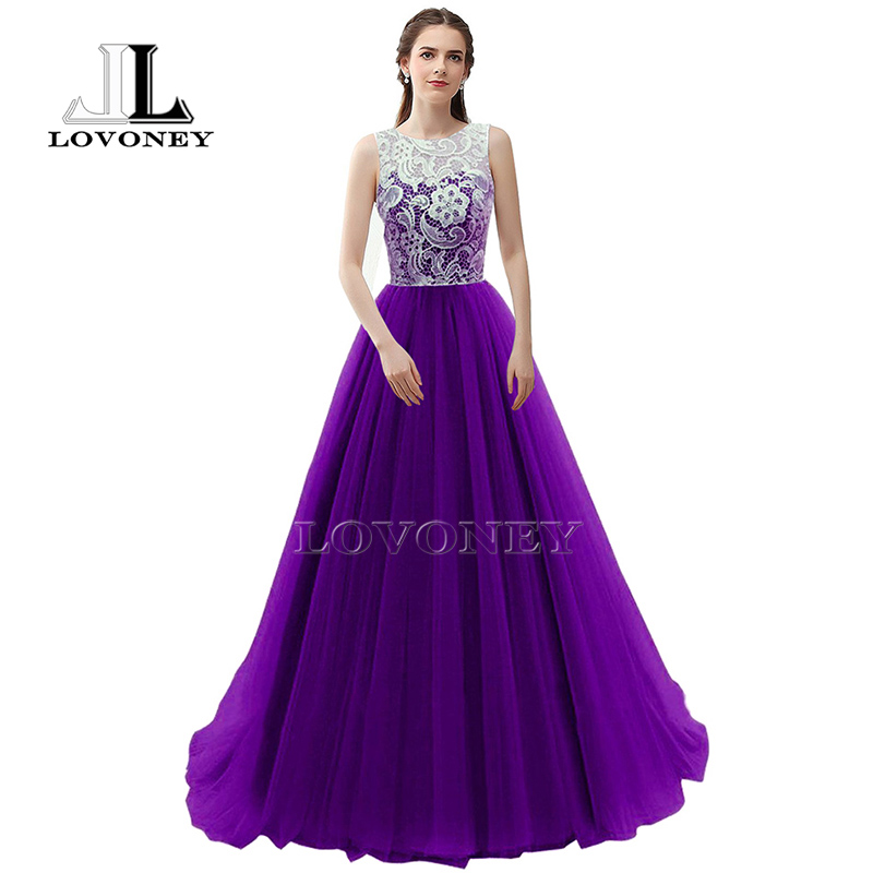 LOVONEY S304 Long Style Red Prom Dresses 2019 A Line Lace Prom Dress Gown Formal Dresses
