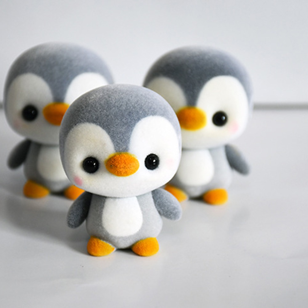 5.5CM Mini PVC Flocking Decoration Dolls Penguin 3 Colors Kawaii Doll Toy For Girls Little Exquisite Toy Christmas Gift Surprise kawaii pvc flocked dolls furry animals cars and desk decorate cute dolls exquisite collection flocking toys gifts for new year